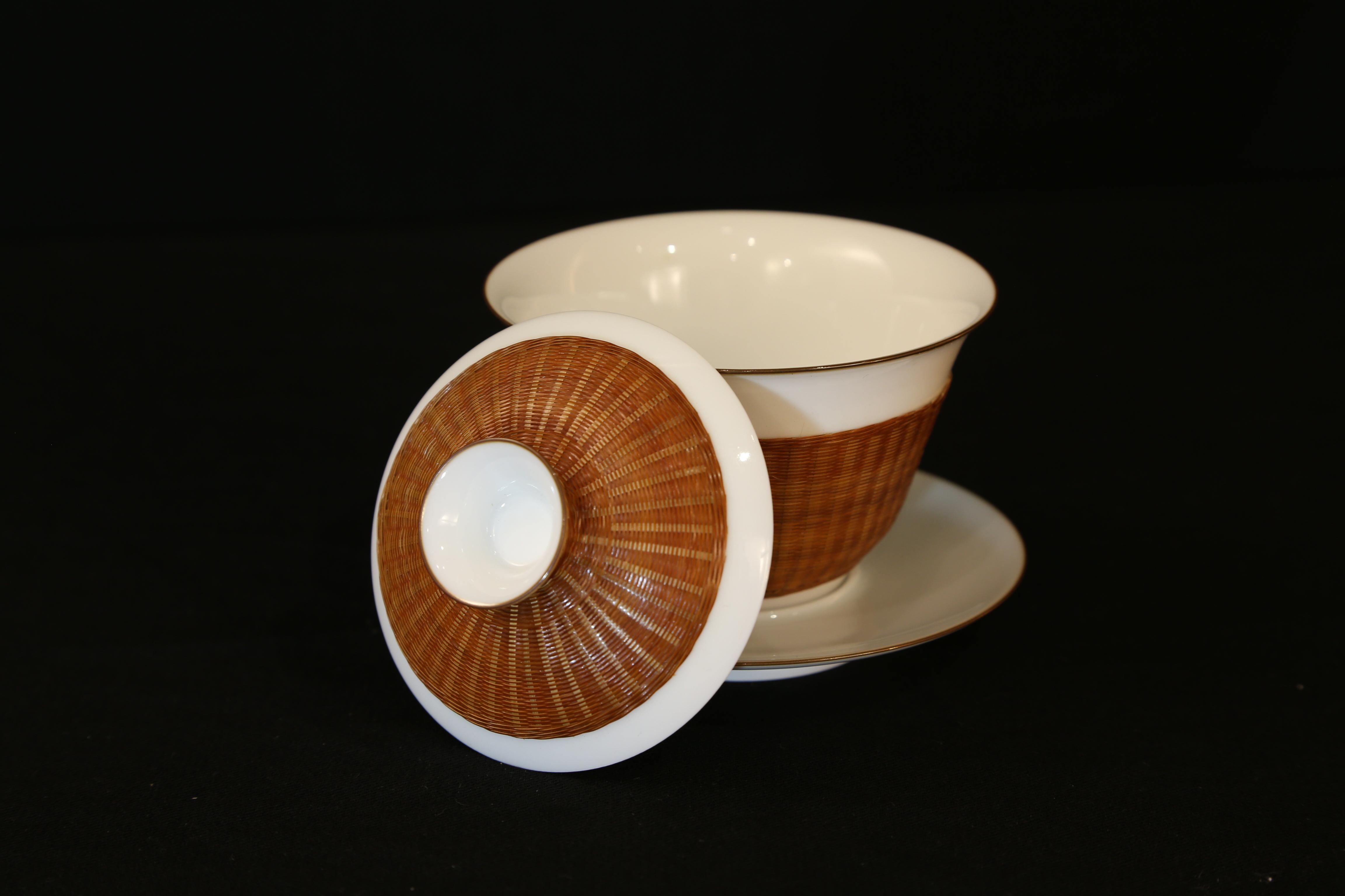 瓷胎竹编之盖碗组合